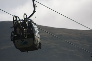 Gondola getting the riders & bikes to the top of the hill!