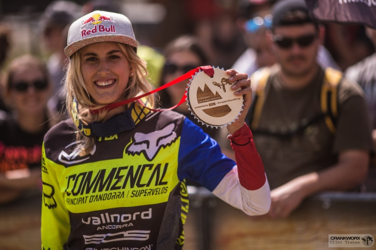 The Elite Women Final 1st place finisher Myriam Nicole at Crankworx Les 2 Alpes Downhill presented by iXS(Photo by clint trahan/crankworx)