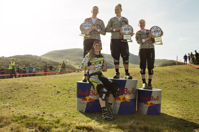 Rebecca Baraona celebrating her victory with Rachel Atherton at Red bull Fox Hunt in Edinburgh, United Kingdom on September 27, 2015