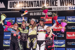 the-women-s-class-podium-finishers-celebrate-at-the-val-di-sole-uci-dh-world-cup-2015